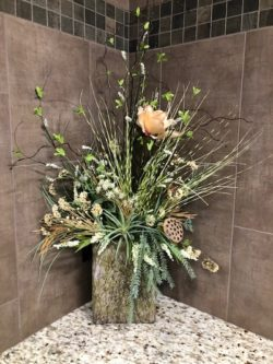 floral arrangements in waspys bathrooms