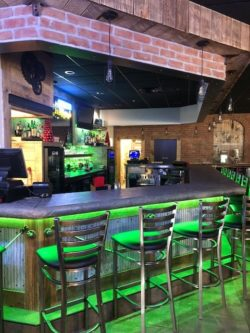 Bar with green lights