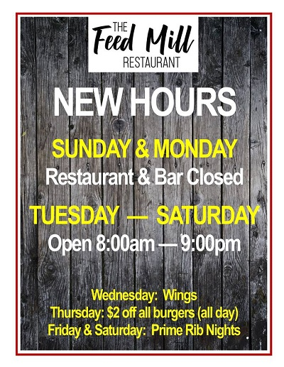 The Feed Mill Restaurant hours