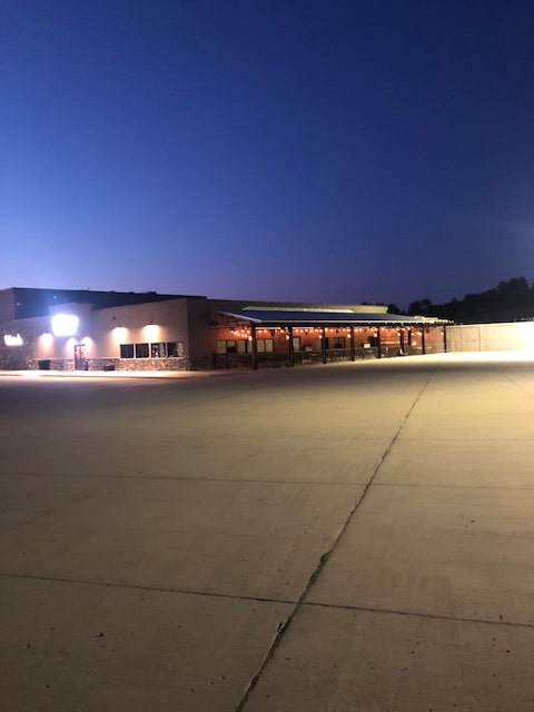 the feed mill patio at night time