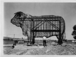 steel frame of Albert the Bull statue under construction black and white