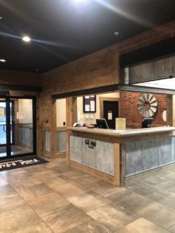 restaurant front counter with brown tile floor