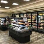 Grocery cases with food