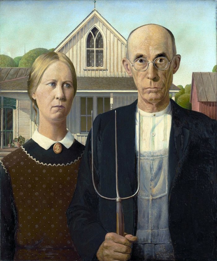 American Gothic painting by Grant Wood