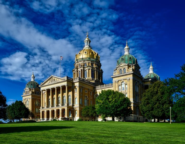 Iowa state capitol building in Des Moines.