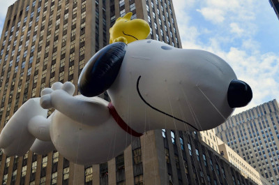 Snoopy balloon in the Macy's Thanksgiving Day Parade