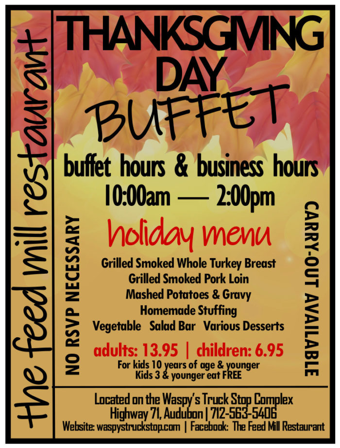 The Feed Mill Restaurant Thanksgiving Day Buffet flyer