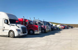 Semi trucks parked at Waspy's Truck Stop in Audubon