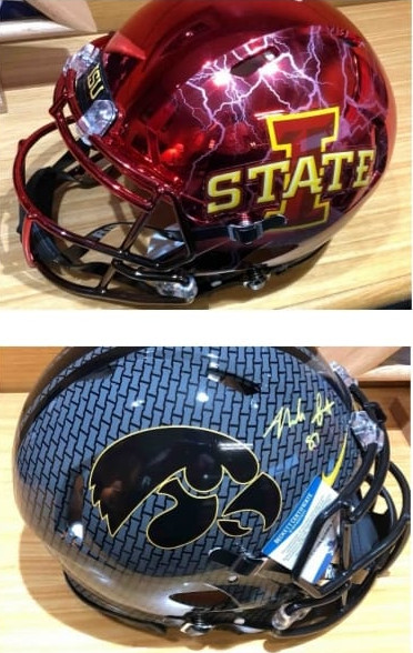 Iowa State and University of Iowa football helmets to be auctioned by Audubon Chamber of Commerce at annual banquet.