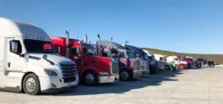 semi-trucks lined up