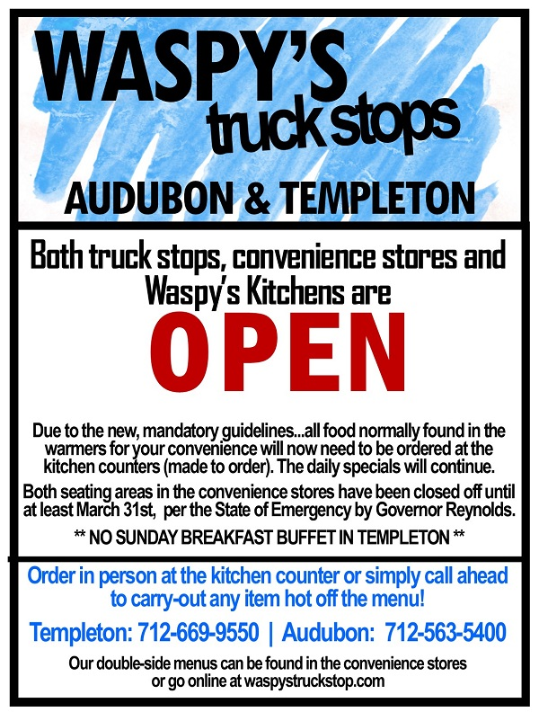 Waspy's Truck Stop Open flyer