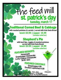 Feed Mill St Patrick's Day menu