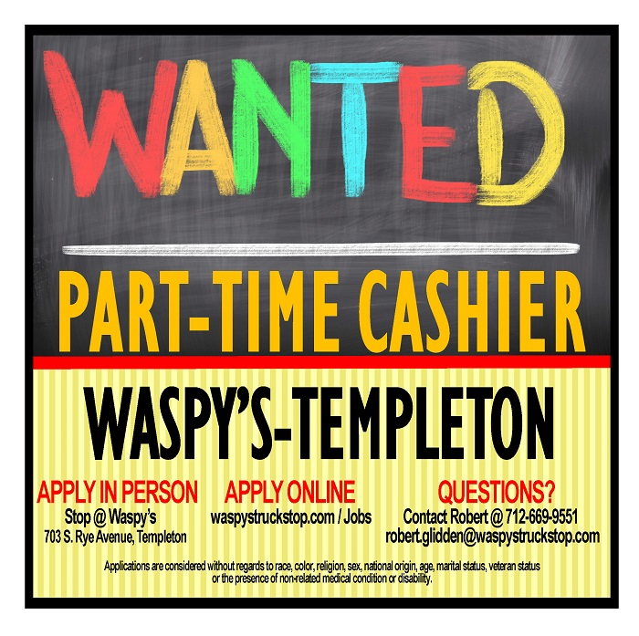 Help wanted cashier Templeton IA