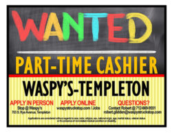 Part-time cashier help wanted