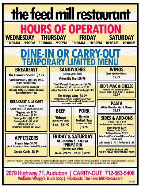 The Feed Mill Menu and Carry Out