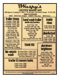 Waspy's Truck Wash livestock washout price list including trailer rinses, hand wash trailer, inside rinse, disinfectant, aluminum brightener, bio-secure wash, tractor and manure tanks and trailer rinses