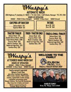 Waspy's Truck Wash price list