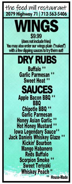 Feed Mill wings sauce menu