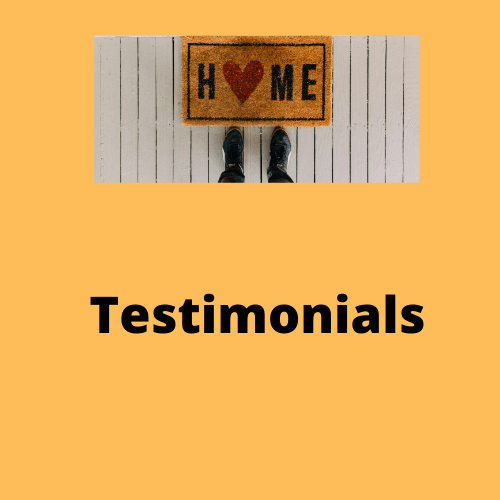 "Testimonials in a yellow box with a picture that says ""Home"""