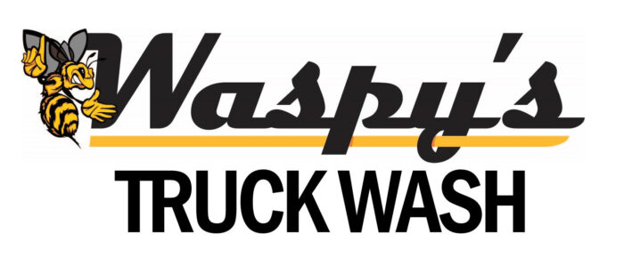 Black and yellow Waspy's Truck Wash logo