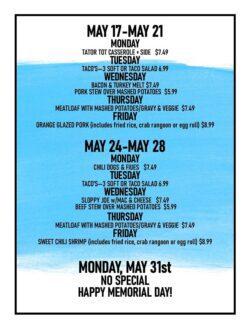 menu for may