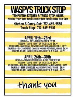 waspy truck stop menu
