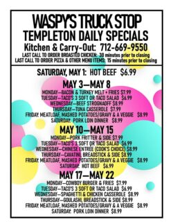 Templeton kitchen & Carry-Out menus for May