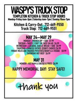 Waspy's Truck stop memorial day menu