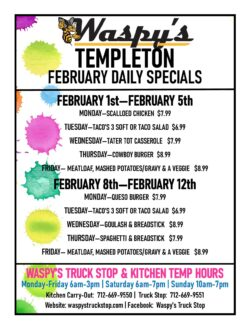 feb. daily specials in templeton