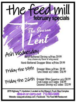 Ash Wednesday menu