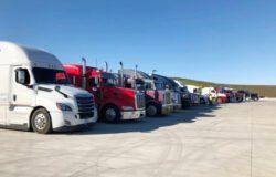 line of semi-trucks