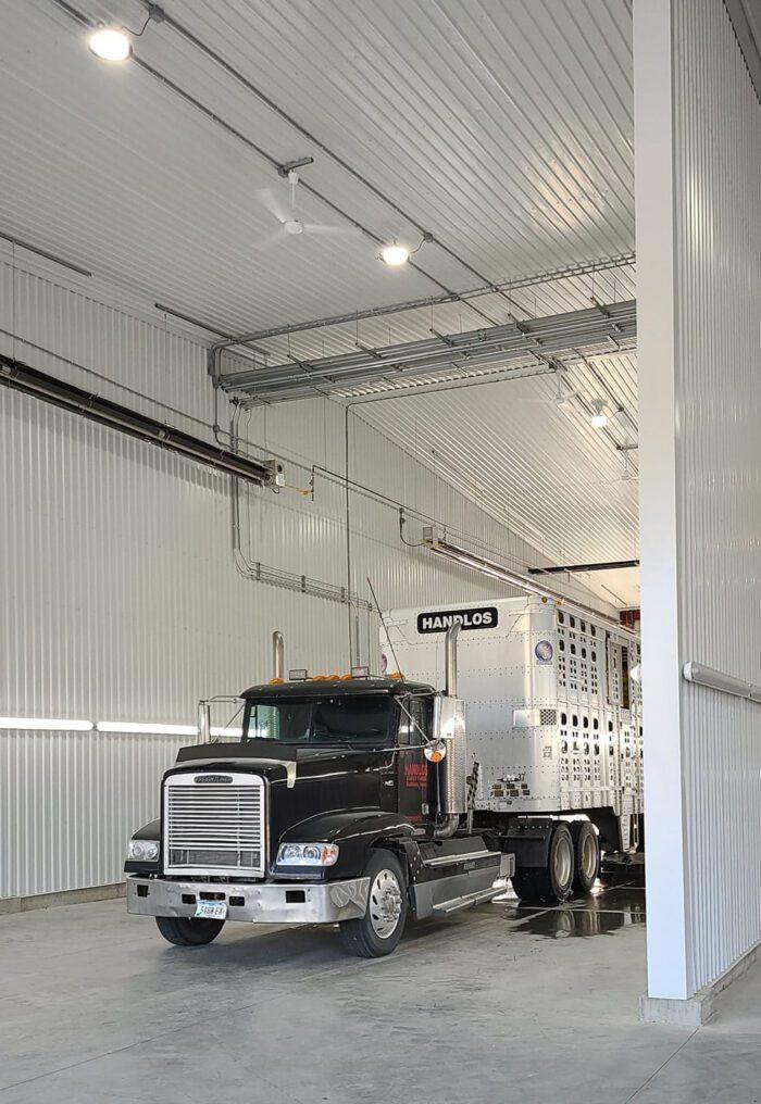 semi-truck in truck wash