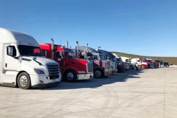 Line of Semi trucks
